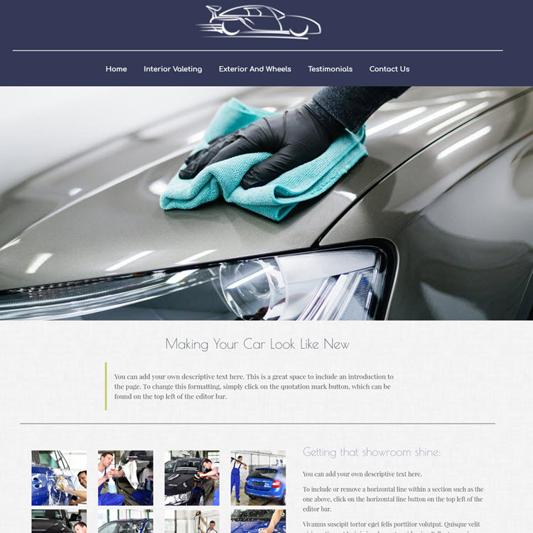 UK Website builder templete Mobile car valeting