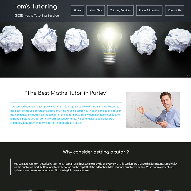 UK Website builder templete Tom's tutoring