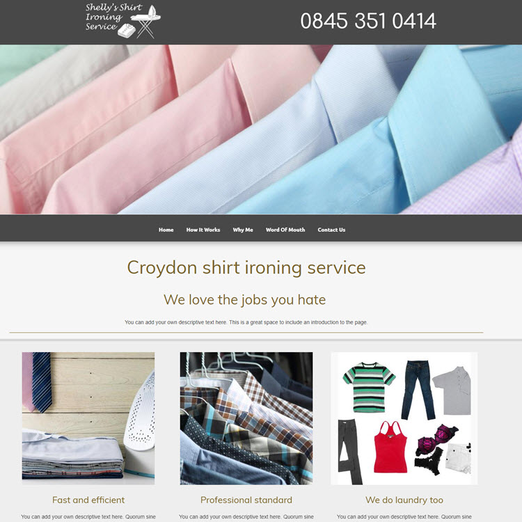 UK Website builder templete Shirt ironing