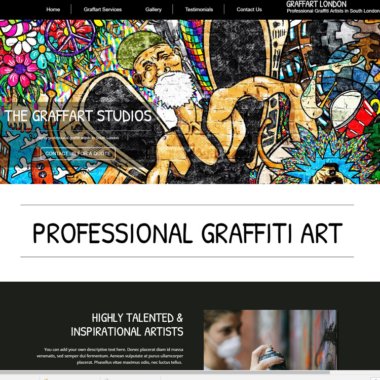 UK Website builder templete Graffiti artist