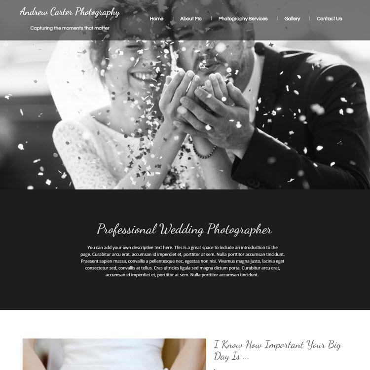 UK Website builder templete Wedding photographer