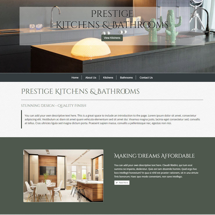 UK Website builder templete Prestige Kitchens & Bathrooms
