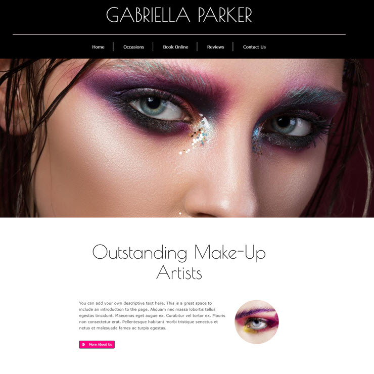 UK Website builder templete Make up artist