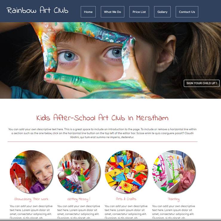 UK Website builder templete Rainbow art club