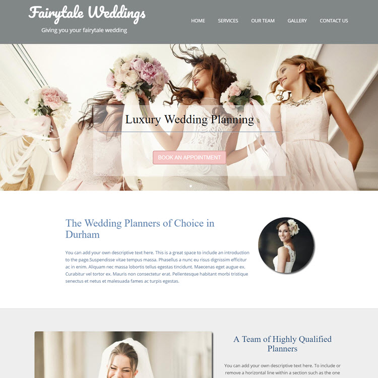 UK Website builder templete Fairytale Weddings