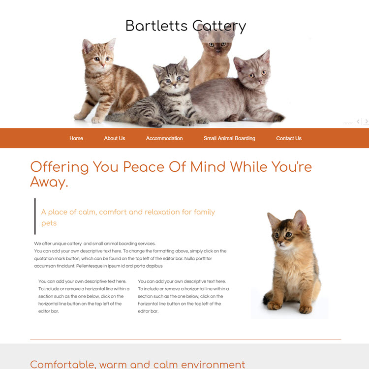 UK Website builder templete Bartletts Cattery