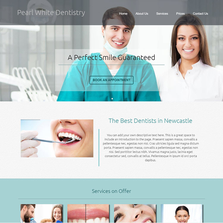 UK Website builder templete Pearl White Dentistry