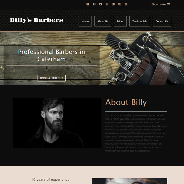 UK Website builder templete Billy's Barbers
