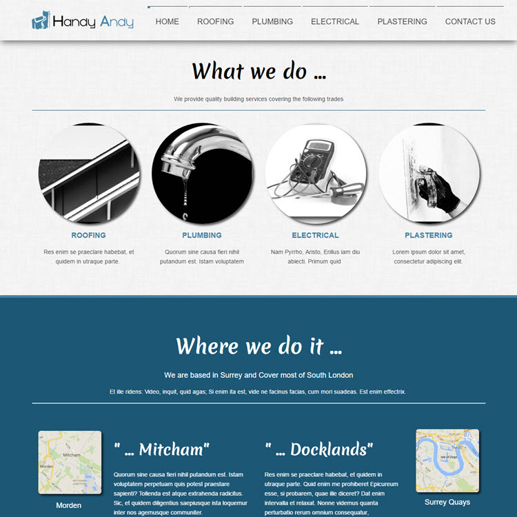 UK Website builder templete Handy Andy