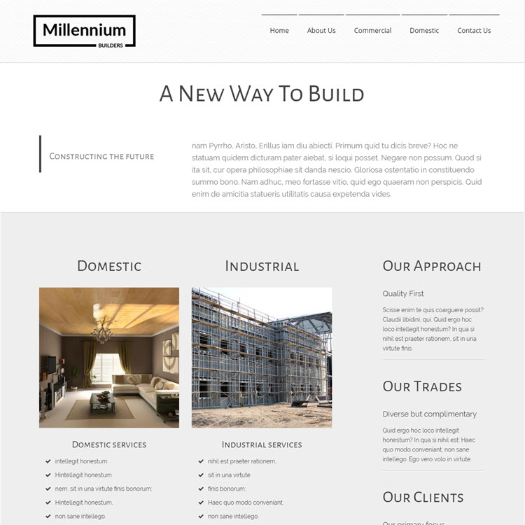 UK Website builder templete Millenium Builders