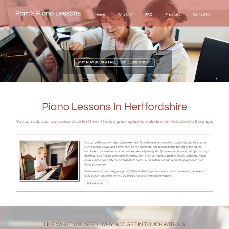 UK Website builder templete Pams piano lessons