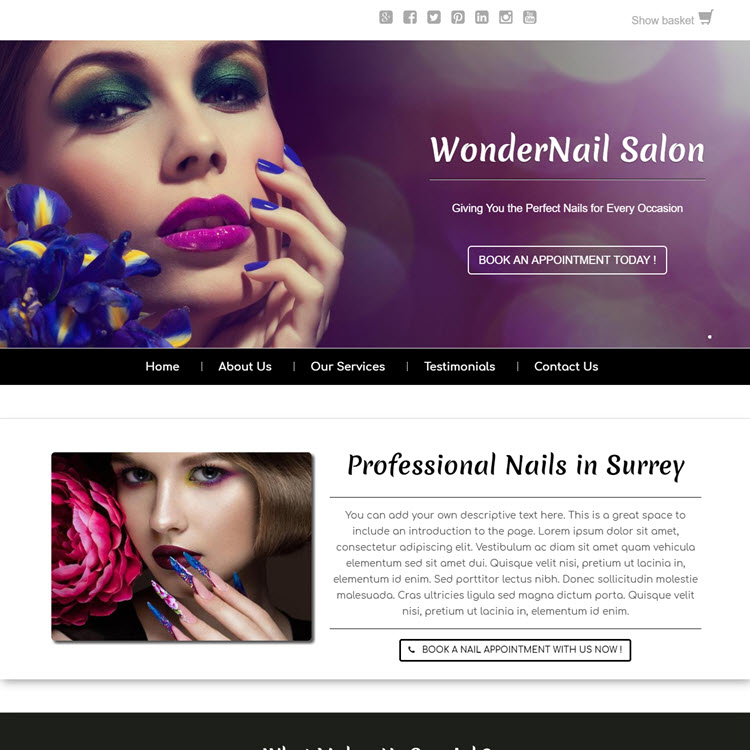 UK Website builder templete Wonder Nail Salon
