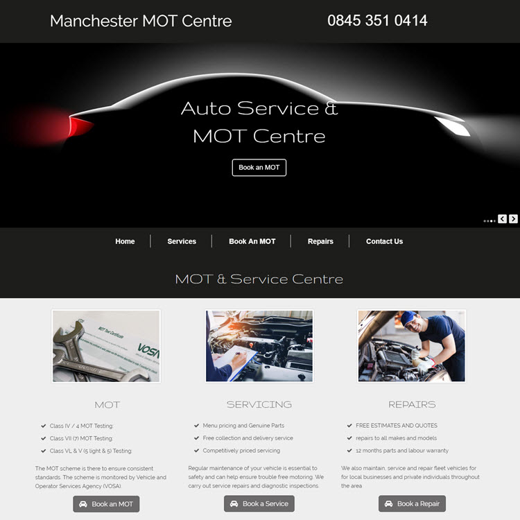 UK Website builder templete Manchester MOT Centre