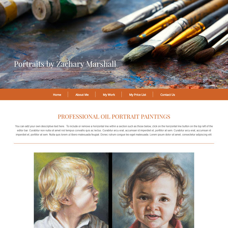 UK Website builder templete Zachary Marshal painting