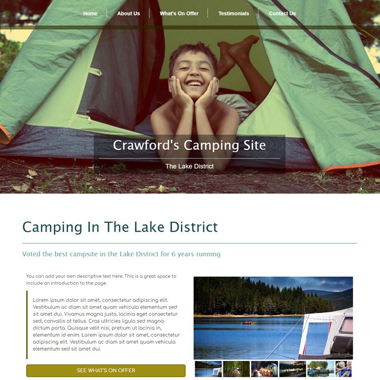 UK Website builder templete Camping in the lake district