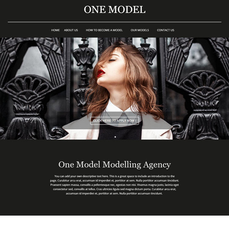 UK Website builder templete ONE Model Modelling Agency