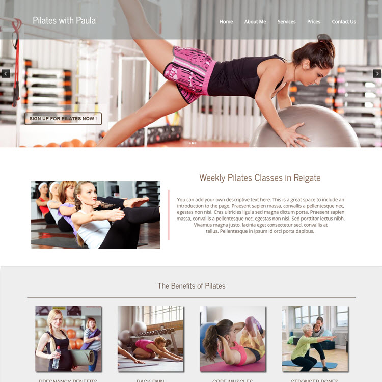 UK Website builder templete Pilates with Paula