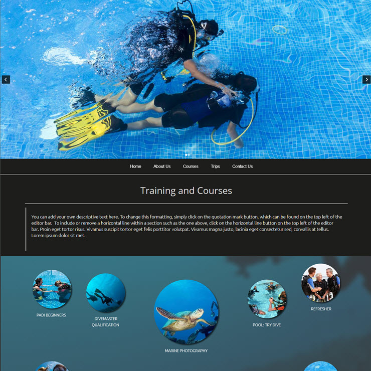UK Website builder templete DeepBlu Scuba