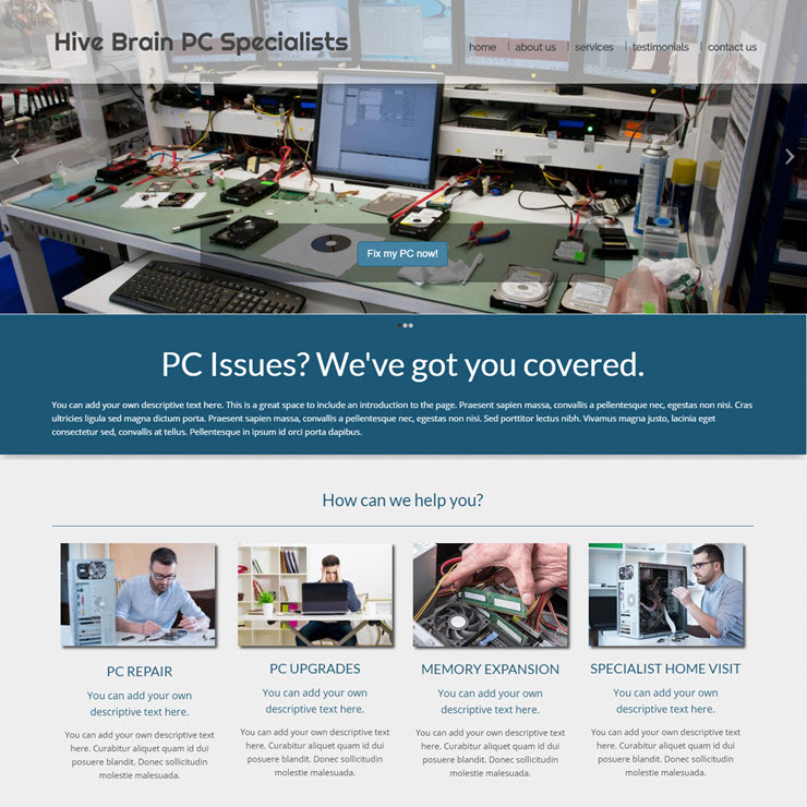 UK Website builder templete Hive Brain PC Specialists