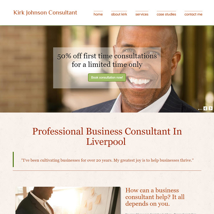 UK Website builder templete Kirk Johnson Business Consultant