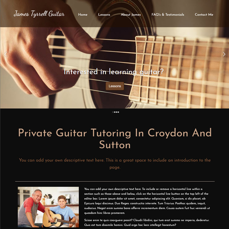 UK Website builder templete James Tyrrell Guitar Tutor