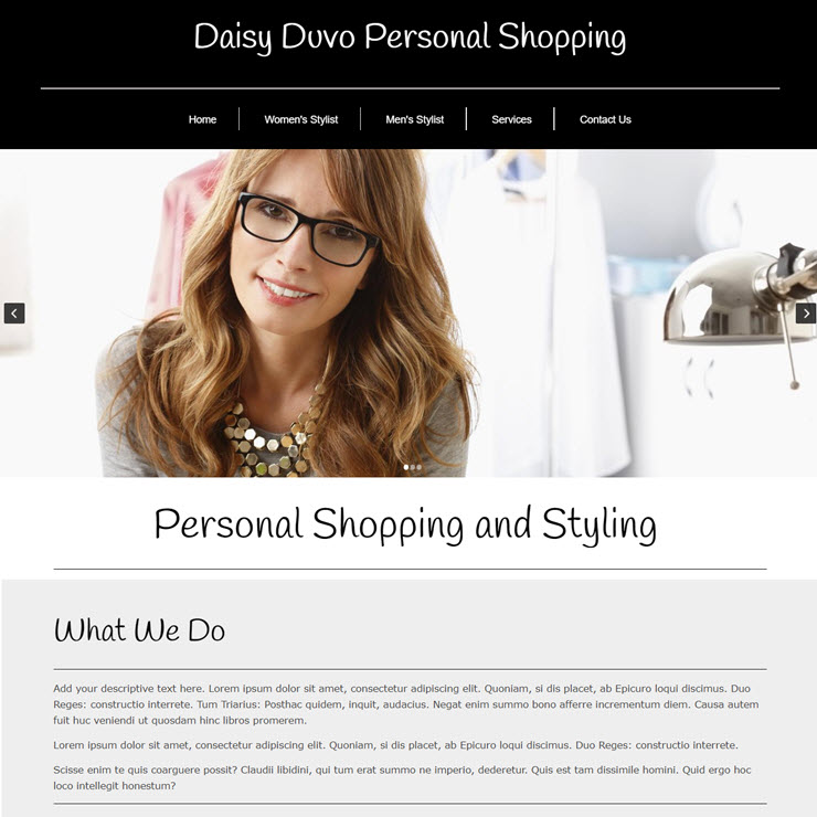 UK Website builder templete Duvo personal shopper