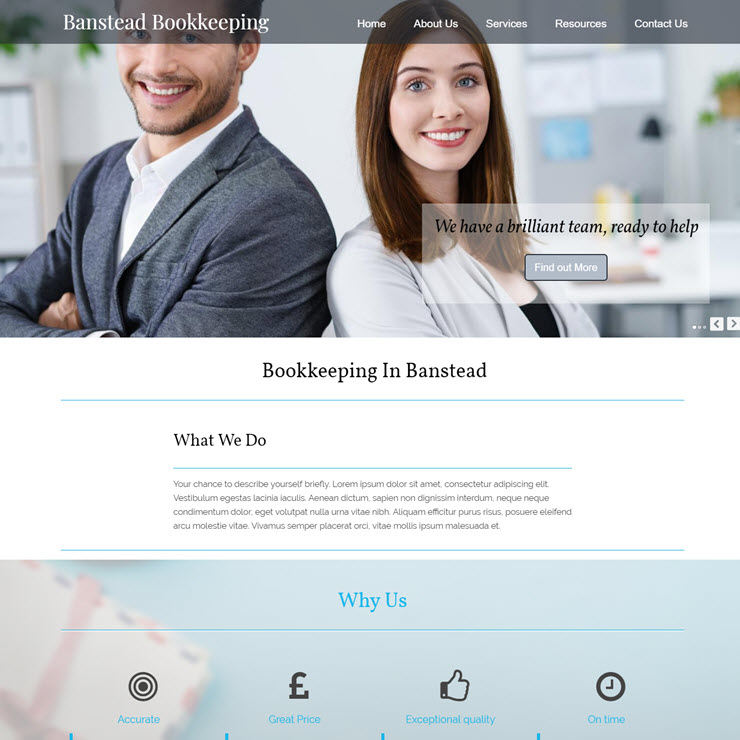 UK Website builder templete Banstead Bookkeeping