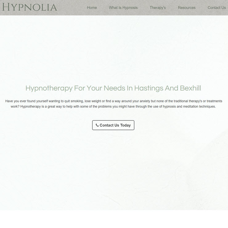 UK Website builder templete Hypnolia Hypnotherapy