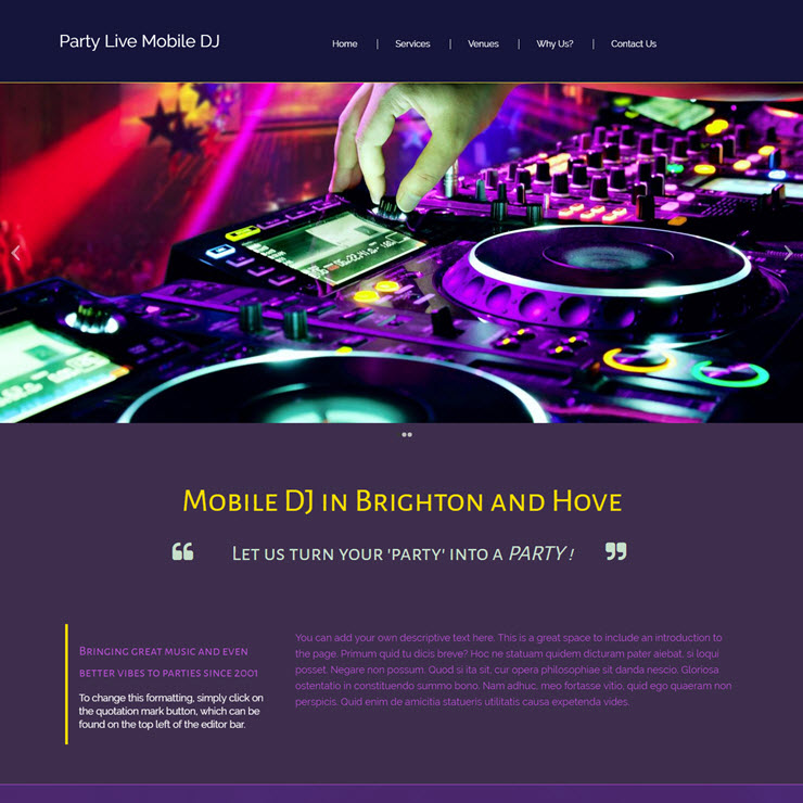 UK Website builder templete Party Live Mobile DJ