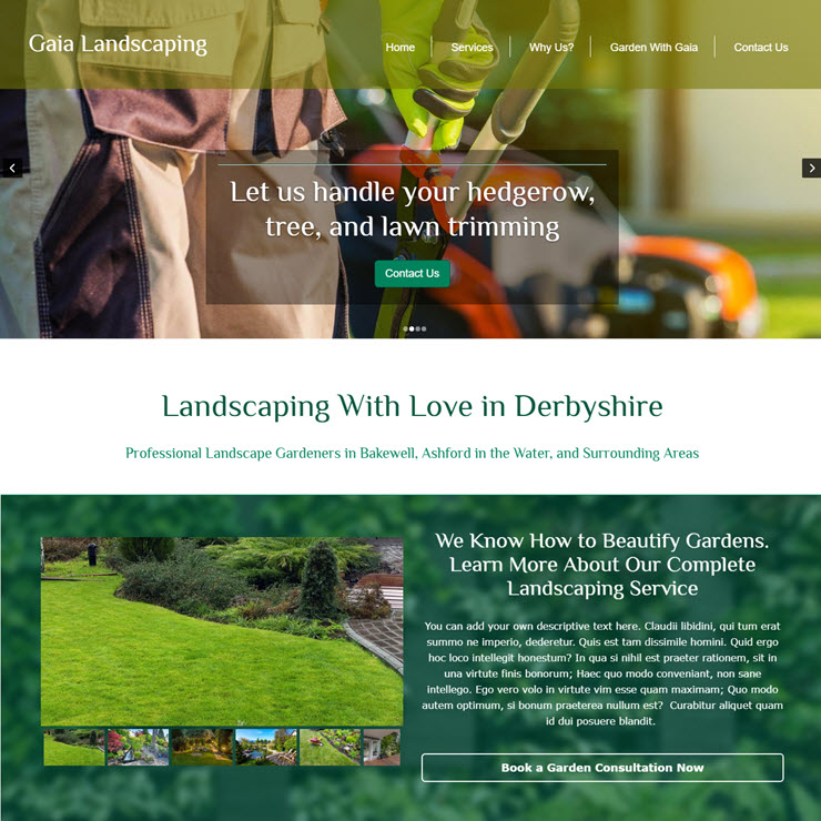 UK Website builder templete Gaia Landscaping