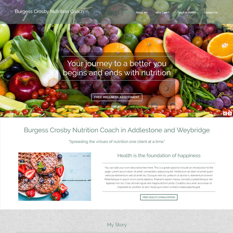 UK Website builder templete Burgess Crosby Nutrition Coach