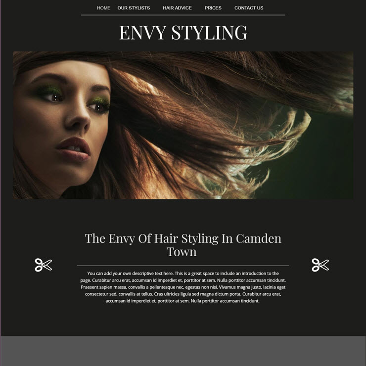 UK Website builder templete Envy Hair Styling