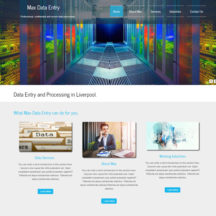 UK Website builder templete Max Data Entry