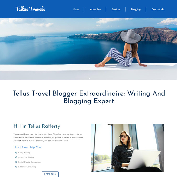 UK Website builder templete Freelance Travel Blogger