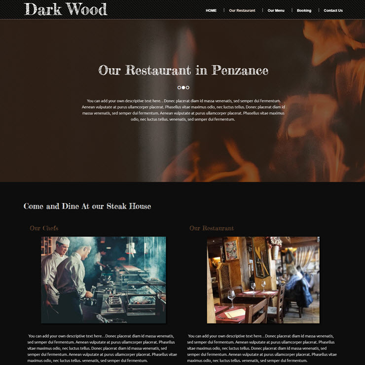 UK Website builder templete Dark Wood Steak House