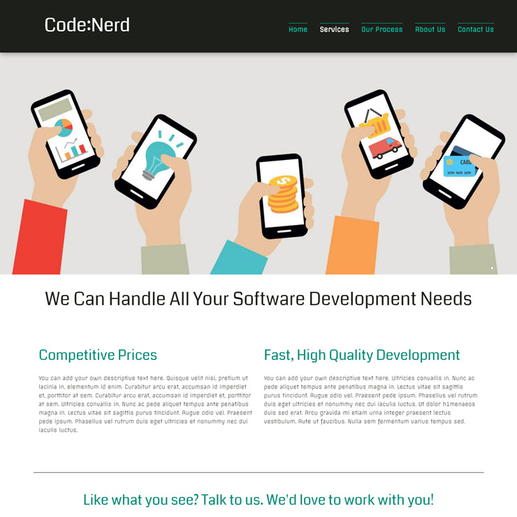 UK Website builder templete Software Developer Company