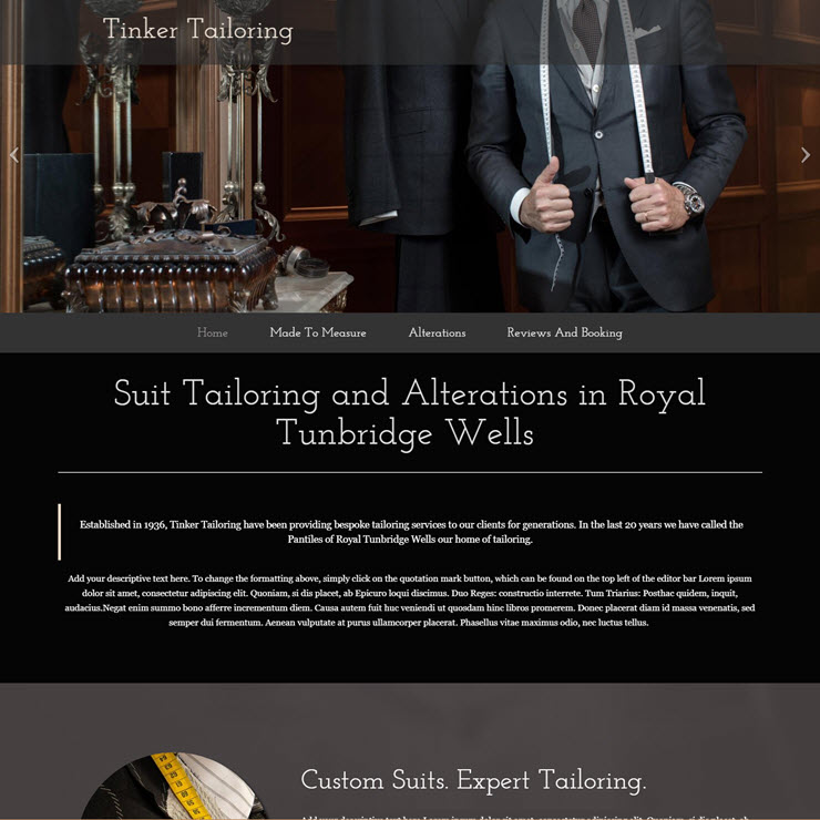 UK Website builder templete Tinker Tailoring