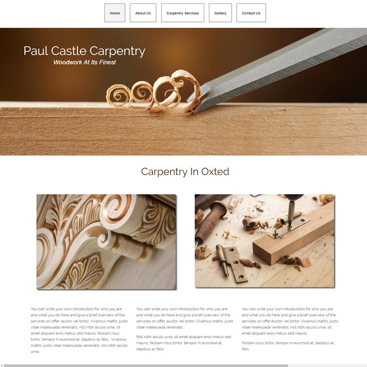 UK Website builder templete Paul Castle Carpentry