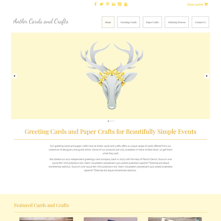 UK Website builder templete Antler Cards and Crafts
