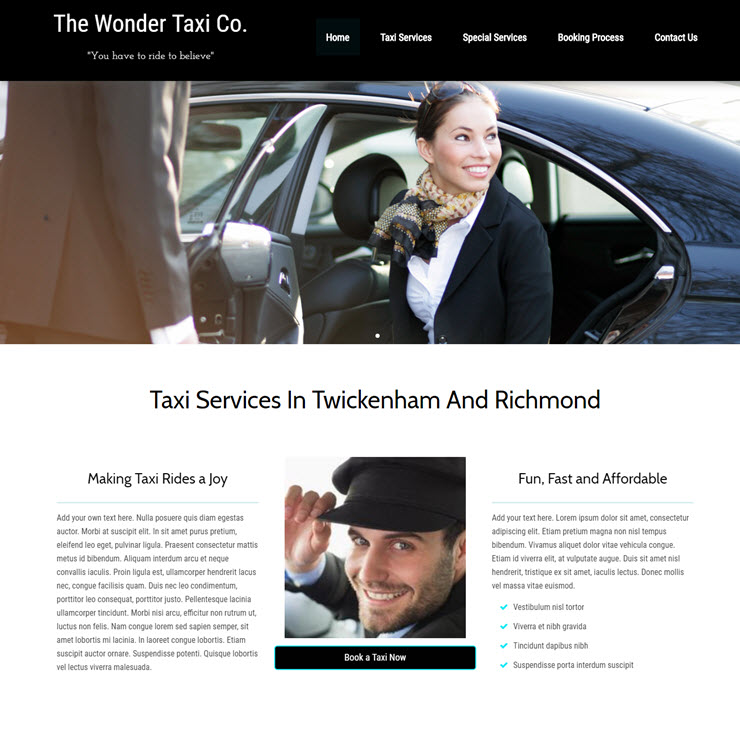 UK Website builder templete Wonder Taxi
