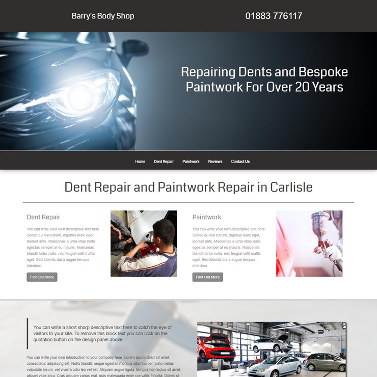 UK Website builder templete Barry's Body Shop