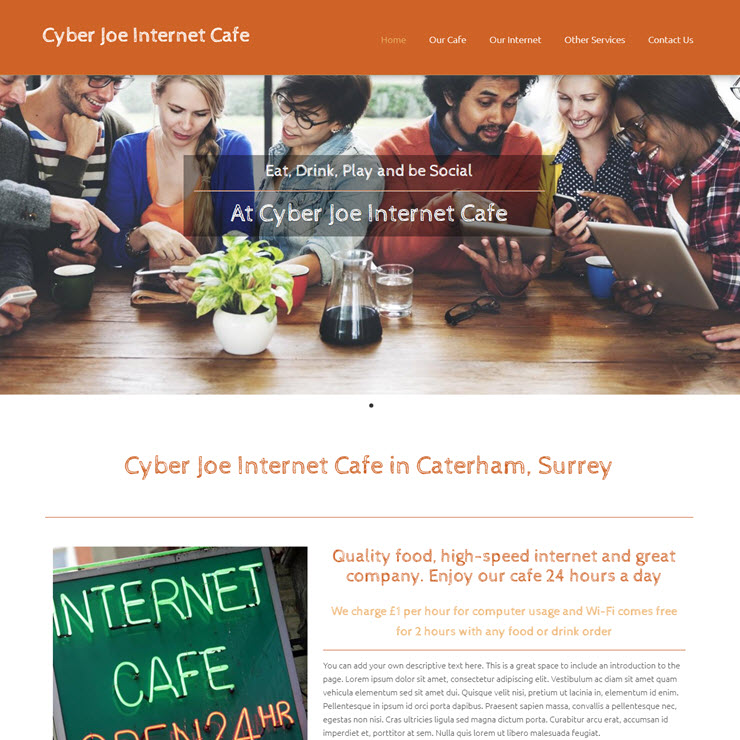 UK Website builder templete Cyber Joe Cafe