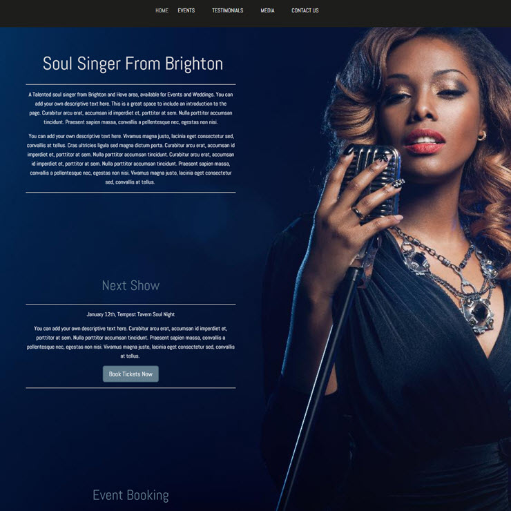 UK Website builder templete Betsy Miller Singer