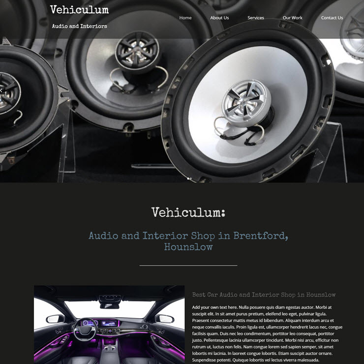 UK Website builder templete Vehiculum Audio and Interiors