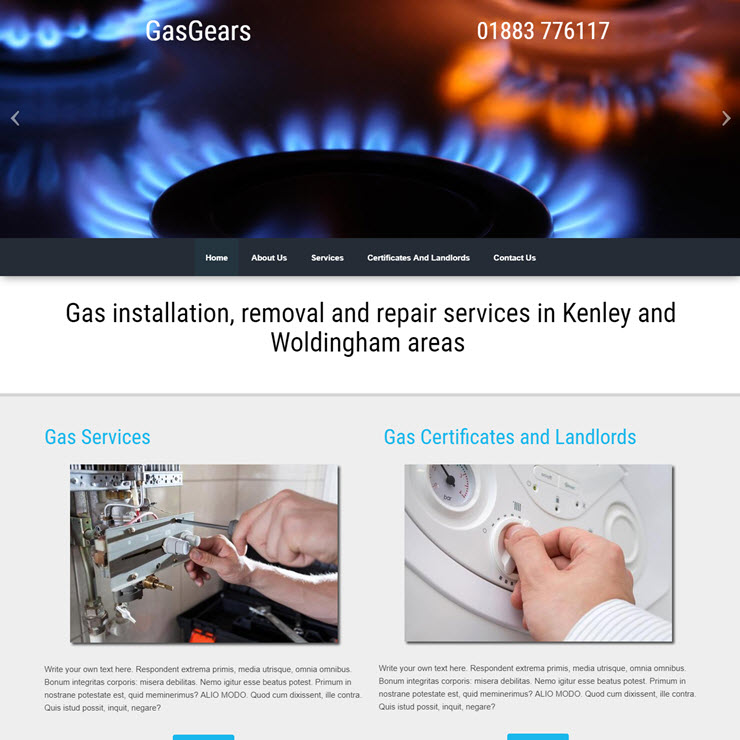 UK Website builder templete Gas Gears
