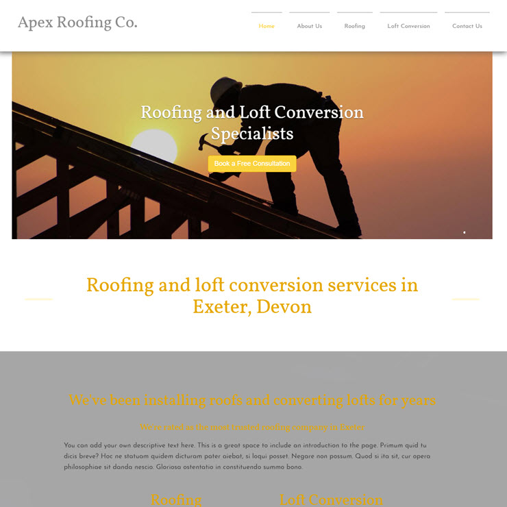 UK Website builder templete Apex Roofing