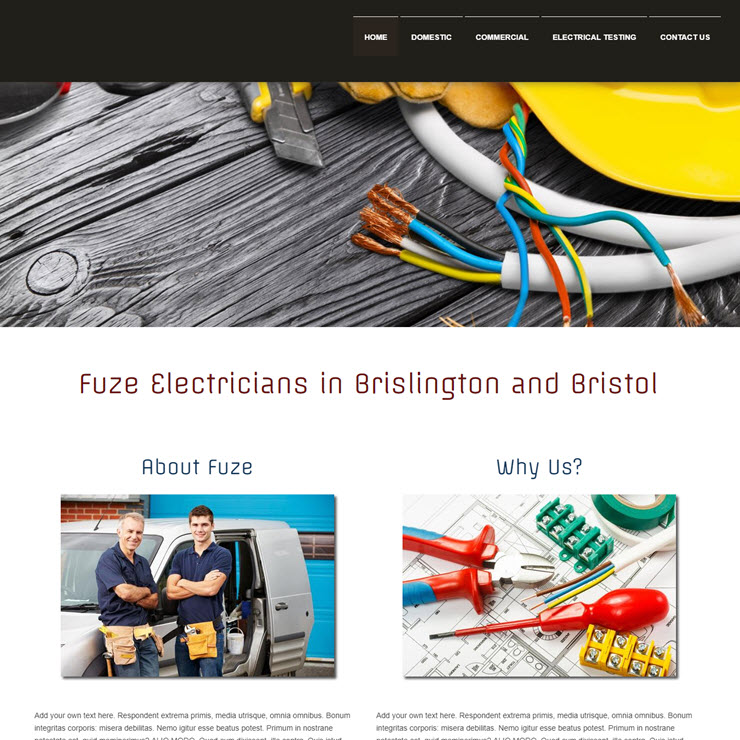 UK Website builder templete Fuze Electricians
