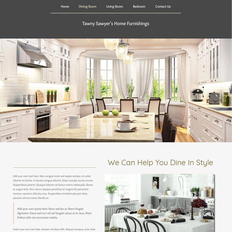 UK Website builder templete Sawyer's Home Furnishings
