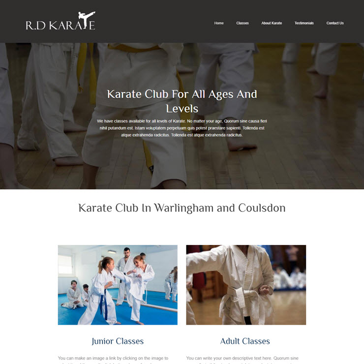 UK Website builder templete R.D Karate