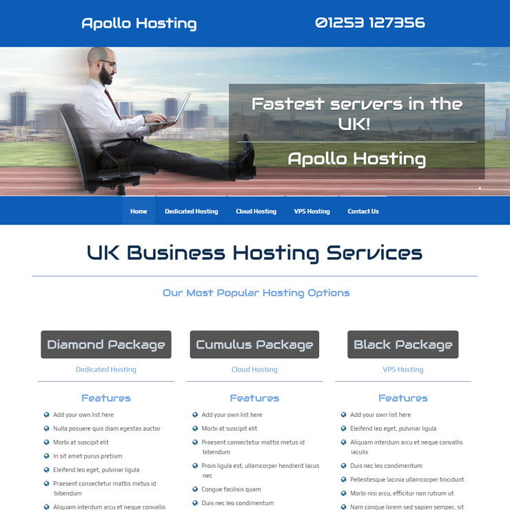UK Website builder templete Apollo Hosting